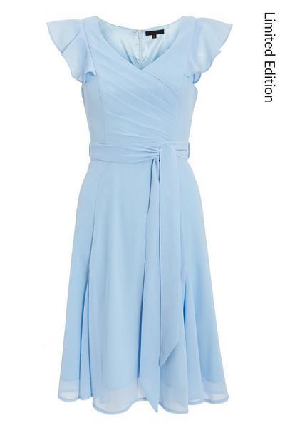 Blue Frill Skater Midi Dress